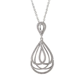 Luxiro Sterling Silver Micropave Cubic Zirconia Layered Teardrop Pendant Necklace