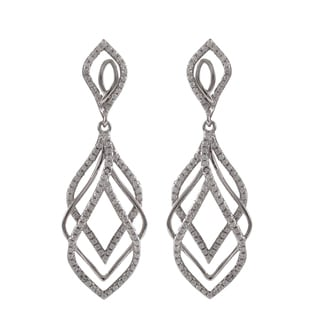 Luxiro Sterling Silver Micropave Cubic Zirconia Layered Teardrop Dangle Earrings