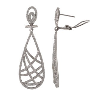 Luxiro Sterling Silver Micropave Cubic Zirconia Crisscross Teardrop Dangle Earrings