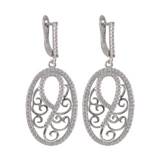 Luxiro Sterling Silver Micropave Cubic Zirconia Filigree Oval Dangle Earrings