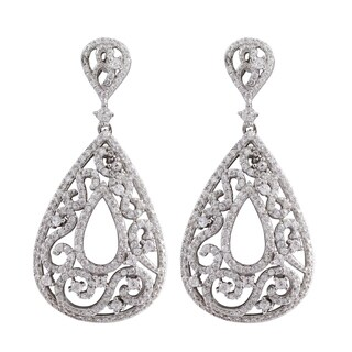 Luxiro Sterling Silver Micropave Cubic Zirconia Filigree Teardrop Dangle Earrings