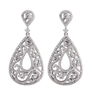 Luxiro Sterling Silver Micropave Cubic Zirconia Filigree Teardrop Dangle Earrings