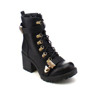 City Snappers 3300-2 Women's Comfort Lace Up Chunky Heel Combat Ankle Booties