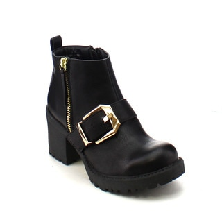 City Snappers 3300-3 Women's Strap with Buckle Chunky Heel Combat Ankle Booties