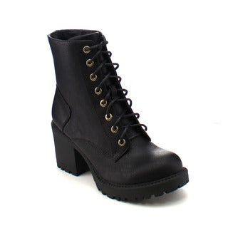 City Snappers 3300-6 Women's Comfort Lace Up Chunky Heel Combat Ankle Booties