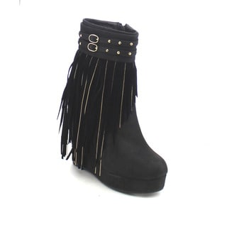 City Snappers 7810-98 Women's Sassy Fringe Trim Deco Wedge Heel Ankle Booties