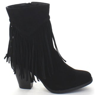 Breckelle's Heather-38 Women's Fringe Block Heel Woven High Top Ankle Booties