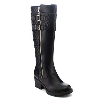 City Snappers 2063-36 Women's Comfy Diamond Shape Quilted Knee High Riding Boots