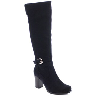 I Heart Collection Haley-01 Women's Classical Block Stacked Heel Knee High Boots