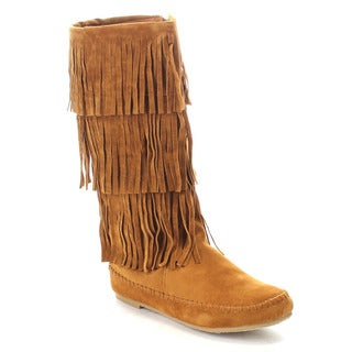Bamboo Circus-06 Women's Moccasin Three Layer Fringe Under Knee High Trendy Boot