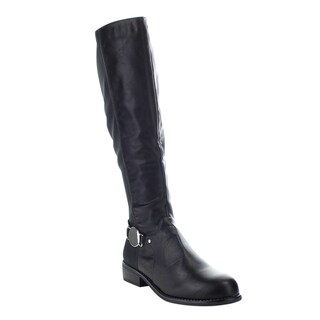 Bamboo Pilot-14 Women's Stretch Side Zip Metal Accent 5050 Knee High Riding Boot