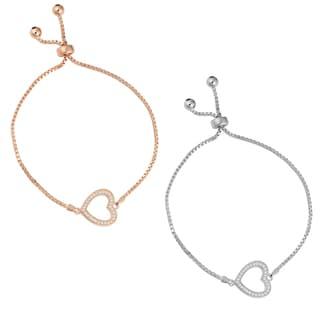 Fremada Sterling Silver with Cubic Zirconia Heart Adjustable Slide Bracelet (white or rose)