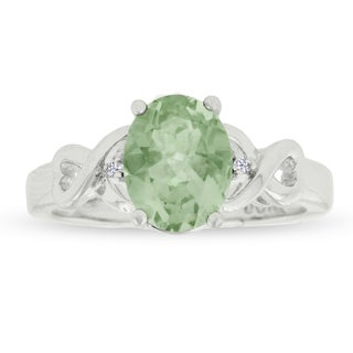 1 3/4 TGW Oval Shape Green Amethyst and Diamond Ring