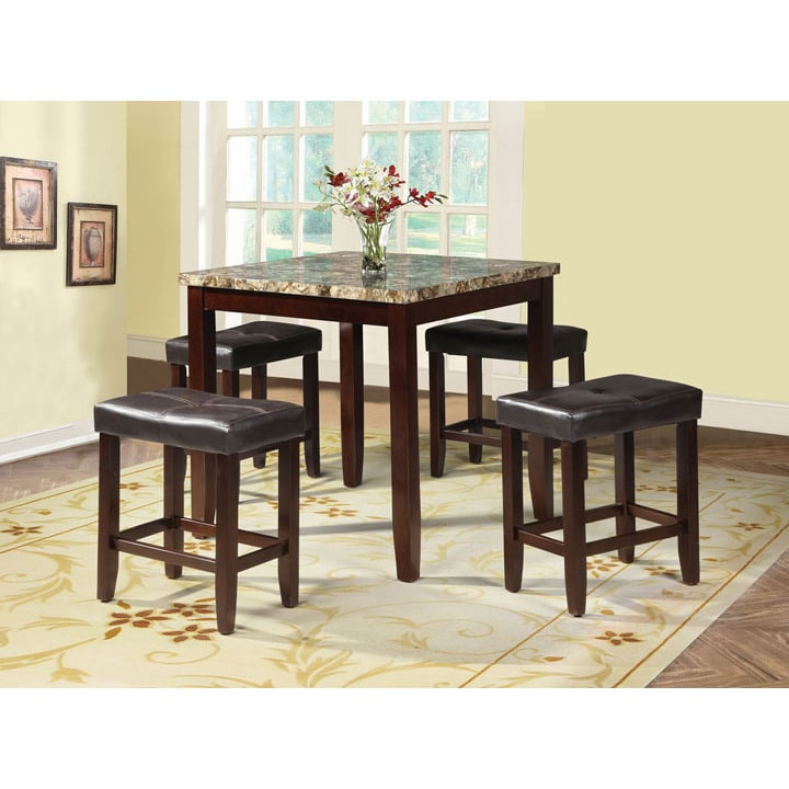 ACME Rolle 5-piece Pack Counter Height Set Table and Stoo...