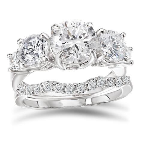 Avanti Rhodium Plated Sterling Silver 3 1/4ct TGW CZ Round Five Stone Bridal Ring Set
