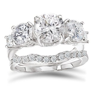 Avanti Rhodium Plated Sterling Silver 3 1/4ct TGW CZ Round Five Stone Bridal Ring Set
