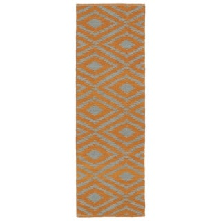 Indoor/Outdoor Laguna Orange and Grey Ikat Flat-Weave Rug (2' x 6')