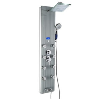 """AKDY SP0055 51"""" Tempered Glass Wall Mount Multi-Function Massage Jets Rainfall Shower Panel Tower System"""