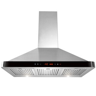 "AKDY 36"" Black Front Panel Wall Mount Stainless Steel LED Touch Control Range Hood Kitchen Cooking Fan"