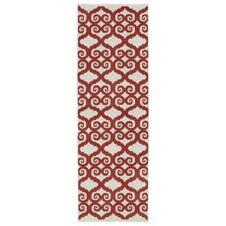 Indoor/Outdoor Laguna Ivory and Red Scroll Flat-Weave Rug (2'0 x 6'0) - 2' x 6'