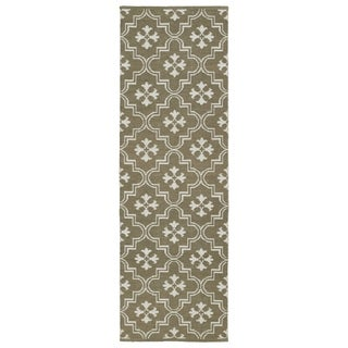 Indoor/Outdoor Laguna Dark Taupe and Ivory Tiles Flat-Weave Rug (2'0 x 6'0)