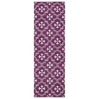 Indoor/Outdoor Laguna Purple and Ivory Tiles Flat-Weave Rug (2'0 x 6'0)