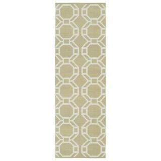 Indoor/Outdoor Laguna Khaki and Ivory Geo Flat-Weave Rug (2'0 x 6'0)