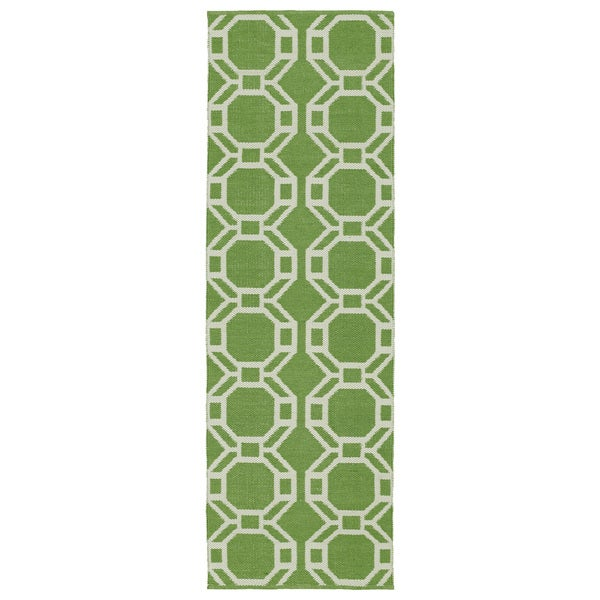 Indoor/Outdoor Laguna Lime and Ivory Geo Flat-Weave Rug (2'0 x 6'0)