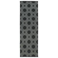 Indoor/Outdoor Laguna Black and Grey Geo Flat-Weave Rug (2'0 x 6'0) - 2' x 6'
