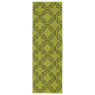 Indoor/Outdoor Laguna Avacado and Brown Geo Flat-Weave Rug (2'0 x 6'0)