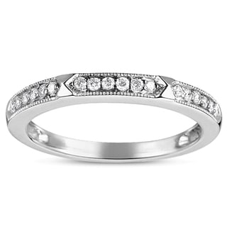 Eloquence 14K white Gold 1/6ct TDW Milgrain Diamond Band