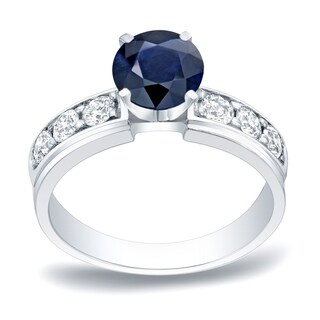 Auriya Classic Round 1/2ct Sapphire and 1/2ct TDW Diamond Engagement Ring 14k Gold