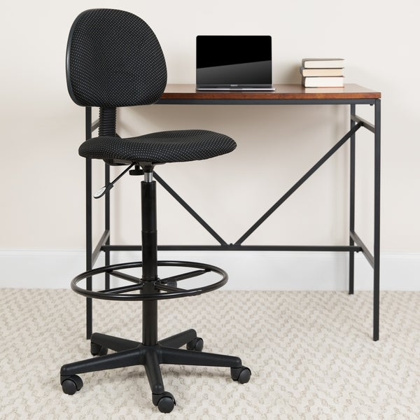 Fabric Drafting Chair with Adjustable Height and Foot Ring