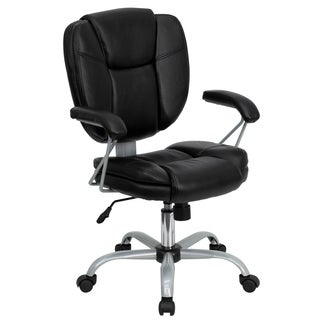 Mid-back Black Leather Task and Computer Chair