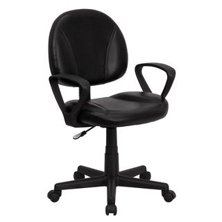 Mid-back Black Leather Armed Ergonomic Task Chair
