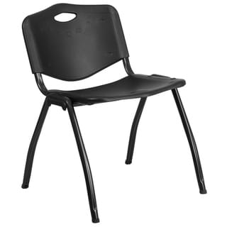 880 lb. Capacity Black Industrial Plastic Stack Chair with Carrying Handle