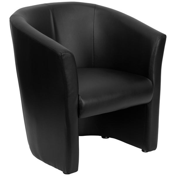 Black LeatherSoft Barrel-Shaped Guest Chair - Home Office Furniture - Side Chair