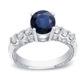 Auriya 14k Gold 3/4ct Blue Sapphire and 3/4ct TDW Round Diamond Engagement Ring (H-I, SI1-SI2)