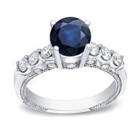 Auriya 14k Gold Vintage 3/4ct Sapphire and 3/4ct TDW Diamond Engagement Ring