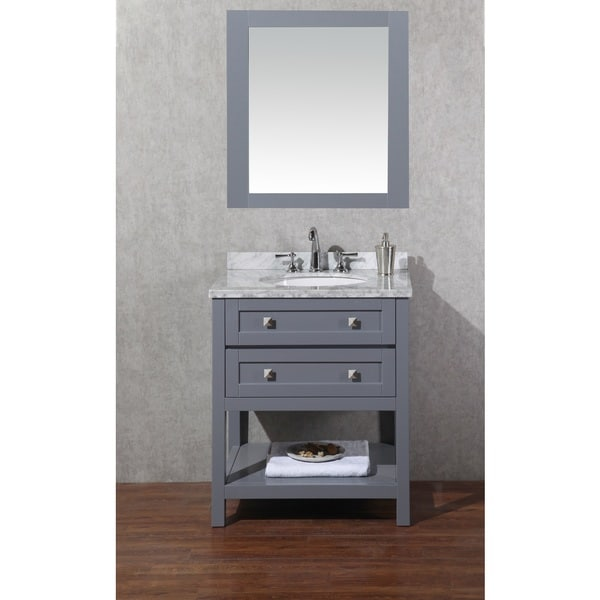 Stufurhome marla 30 inch single sink bathroom vanity with mirror in grey free shipping today for 30 inch bathroom vanity with sink