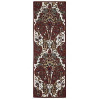 "Red Paisley Wave Wool Runner (2.5'x12') - 2'6"" x 12'"