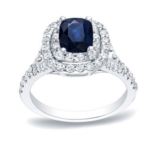 Auriya Blue 1/2ct Sapphire Cushion and 3/4ct TDW Diamond Halo Engagement Ring 14K Gold