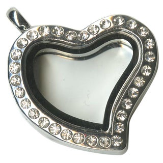 Blue Moon Story Lockets Metal & Glass Locket 1/PkgSilver Heart Jeweled