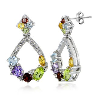 Glitzy Rocks Sterling Silver Multi Gemstones and White Topaz Open Teardrop Earrings