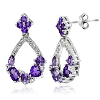 Glitzy Rocks Sterling Silver African Amethyst and White Topaz Open Teardrop Earrings