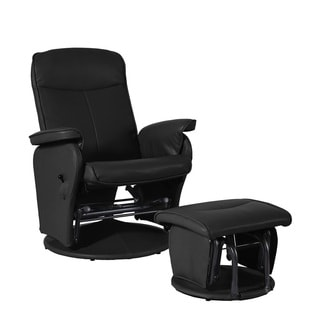 Shermag Bonded Leather Glider and Ottoman Set