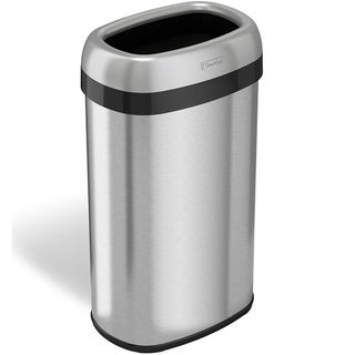 iTouchless 16 Gallon Dual-Deodorizer Oval Open Top Trash Can, Stainless Steel, 60 Liter Open Garbage Can