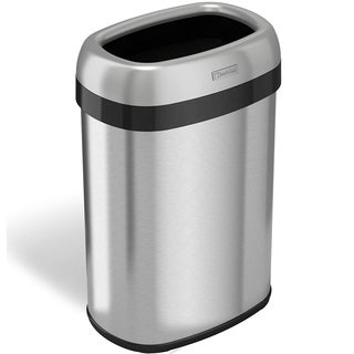 iTouchless 13 gal. Dual-deodorizer Oval Open Top Stainless Steel Commercial Trash Can