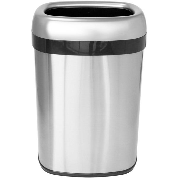 iTouchless Stainless Steel Dual-deodorizer Oval Open-top 13-gallon Commercial Trash Can
