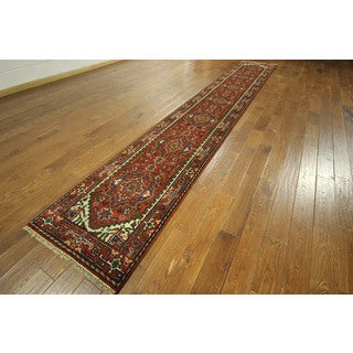 Serapi Collection Hand-knotted Red Heriz Wool Runner Area Rug (3' x 15' & Up)